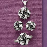 3 pc  black diamond cluster jewelry set