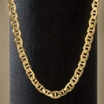 mariner big link gold mm wide anchor inch flat yellow necklace genuine chain solid heavy