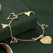 name heart charms bracelet