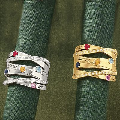Name/Birthstone Family Overpass Ring