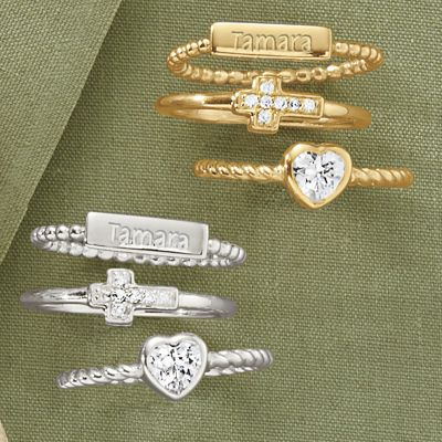 Personalized 3-Piece Stacked Ring Set