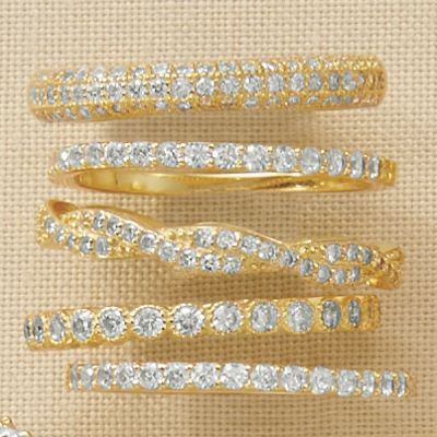 Cubic Zirconia 5-Piece Stacked Ring Set