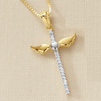 Diamond Cross Pendant with Wings
