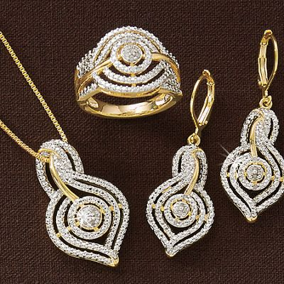 Diamond Swirl Necklace, Earrings and Ring Set
