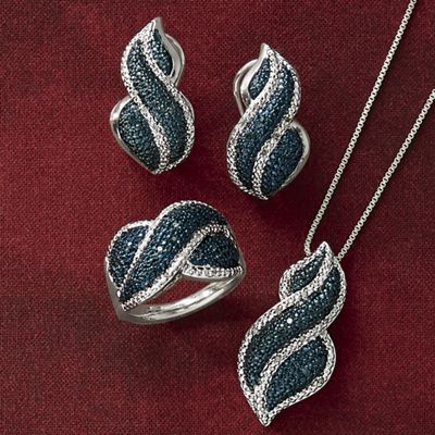 Blue Diamond Necklace, Earrings and Ring Set