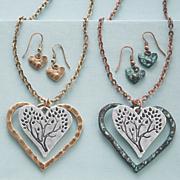 heart tree pendant   earring set