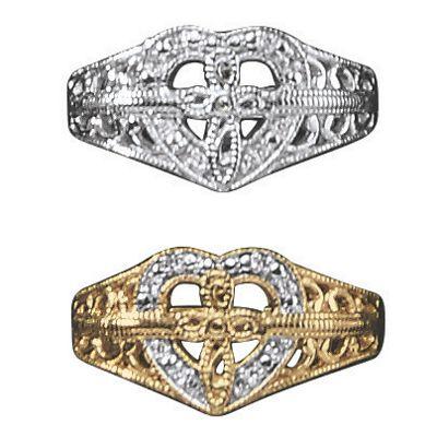 10K Gold Diamond Cross/Heart Ring