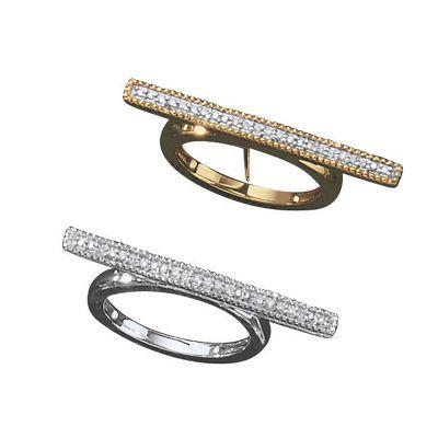 10K Gold Diamond Bar Ring