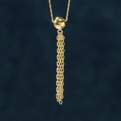 10K Gold Bead/Tassel Necklace