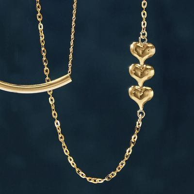 10K Gold 3-Heart Necklace