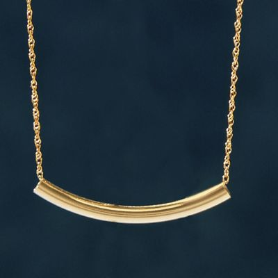 10K Gold Curved Bar Necklace