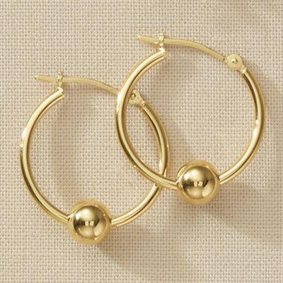 10K Gold Ball Hoops