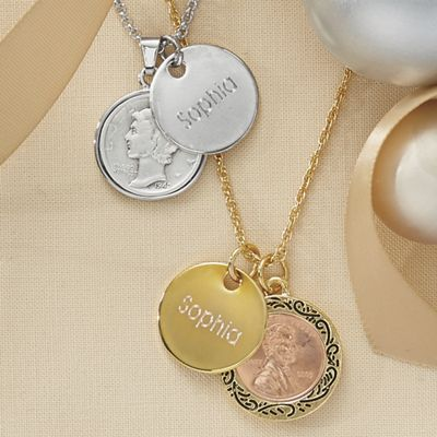 Name/Year Genuine Coin Pendant