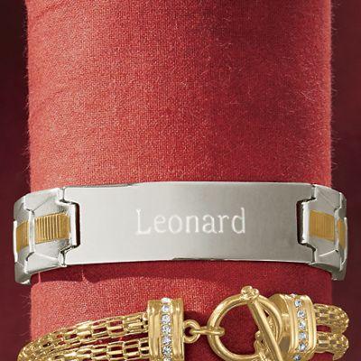 Men's Stainless Steel Two-Tone Bracelet