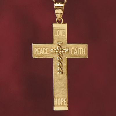 14K Gold Faith/Hope/Peace/Love Cross Pendant