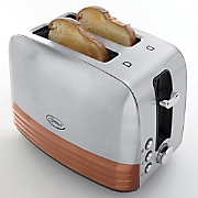 2 slice stainless steel copper band toaster by ginny s