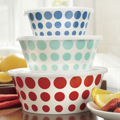 Set of 3 Assorted Melamine Polka-Dot Bowls with Plastic Lids