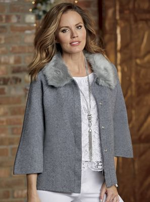 Sweater Jacket with Faux-Fur Collar