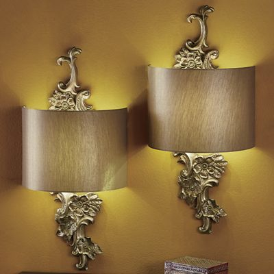 Gold Floral Wireless LED Wall Sconce