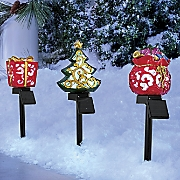 Set of 3 Solar Christmas Pathway Lights