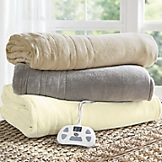 comfort plush electric warming blanket by serta