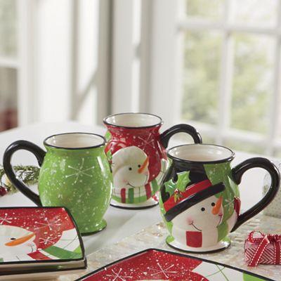 4-Piece Happy Snowman Mug Set