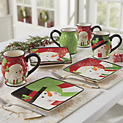 4-Piece Happy Snowman Plate and Mug Sets