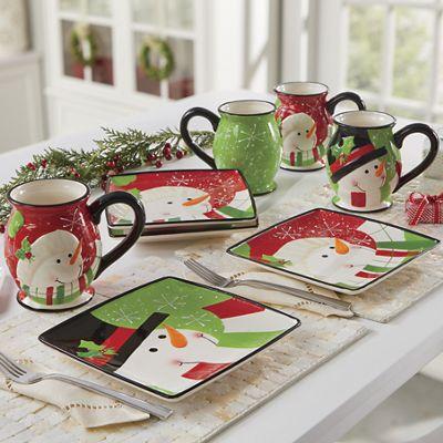 4-Piece Happy Snowman Plate and Mug Sets