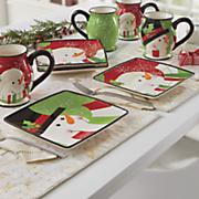 4 pc  happy snowman plate set