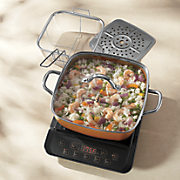 "Precision Induction Cooktop and 11"" Copper Casserole Set by Copper Chef - As Seen On TV"