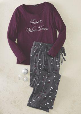 Women's Time to Wine Down PJ Set