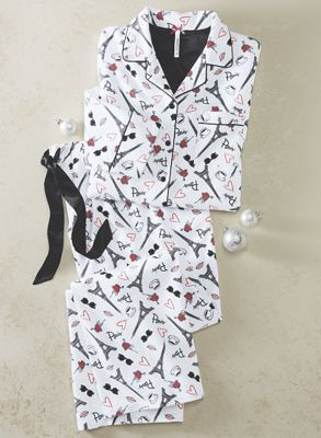 Women's 2-Piece Paris Flannel PJ Set