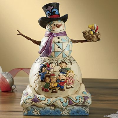Snowman with Peanuts Gang