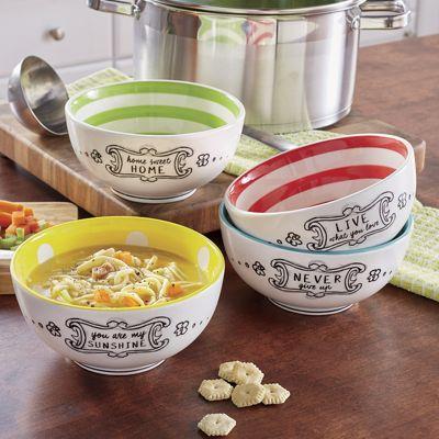 Set of 4 Inspirational Soup Bowls