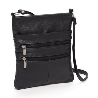 Zipper Leather Crossbody Bag