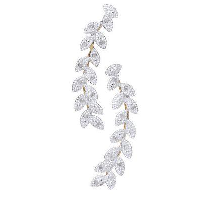Diamond Leaf Climber Earrings