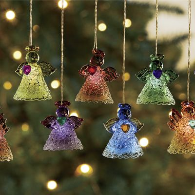 8-Piece Lit Angel Ornament Set