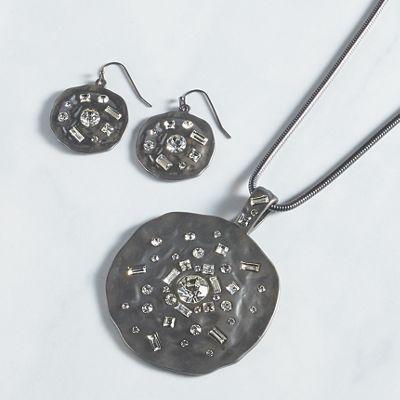 Crystal/Matte Medallion Necklace/Earring Set