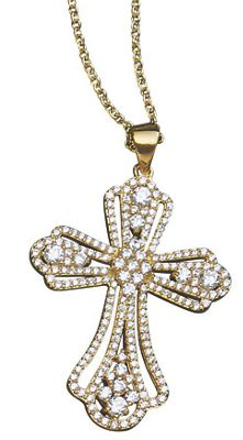 Cubic Zirconia Deco Cross Pendant