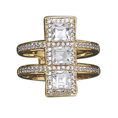 Cubic Zirconia 3 Squares/2 Bands Ring