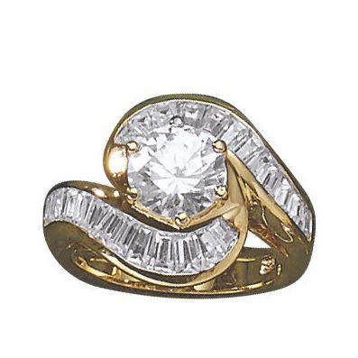 Cubic Zirconia Round/Baguette Swirl Ring