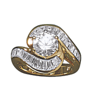 Cubic Zirconia Round/Baguette Swirl Ring