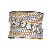 Cubic Zirconia Diagonal Wide Band Ring