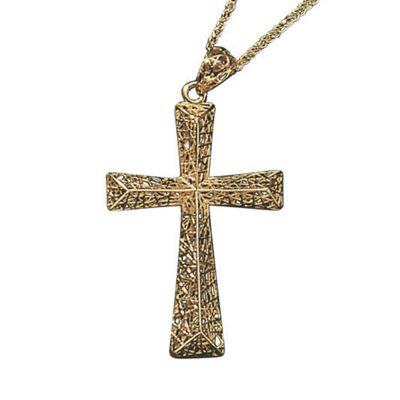 10K Gold Two-Tone Cross Necklace