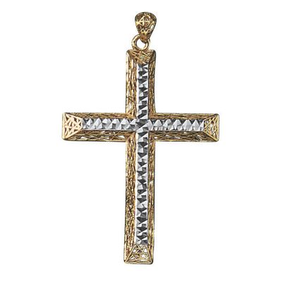 10K Gold Two-Tone Cross Pendant Only