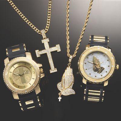 Men's Crystal Watch/Pendant Set