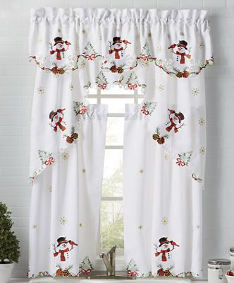 Embroidered Snowman Window Treatments