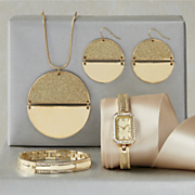 Crystal Watch/Bracelet Set and Glitter Circle Necklace/Earring Set
