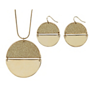 Glitter Circle Necklace/Earring Set