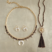 Name/Stone Reversible Long Necklace and Bead/Horn Necklace/Earring Set